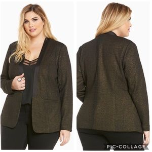 EUC Torrid Shine Knit Open Front blazer deep black
